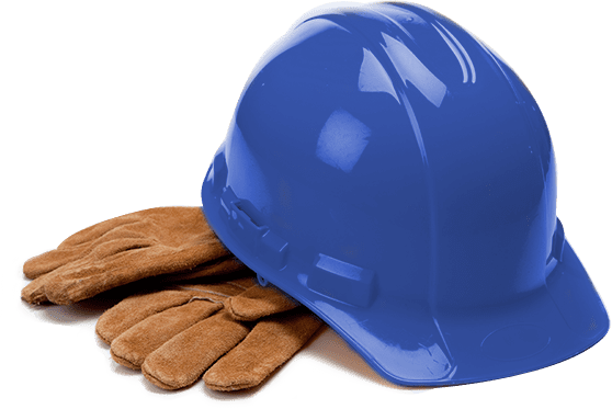 Hard Hat and Leather Work Gloves